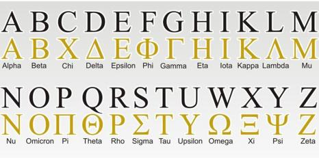 Greek Alphabet to English