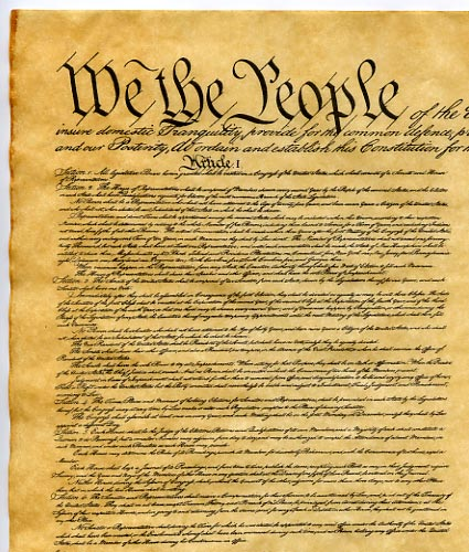 constitution of 1787 The constitution of the united states preamble note we the people of the united states, in order to form a more perfect union, establish justice, insure domestic tranquility, provide for the common defence, promote the general welfare, and secure the blessings of liberty to ourselves and our posterity, do ordain and establish this constitution for the united states of america.