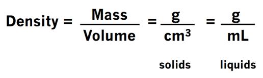 Density Formula - Solids & Liquids