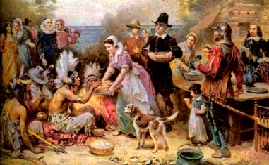 Pilgrims offers Thanksgiving to Native Americans