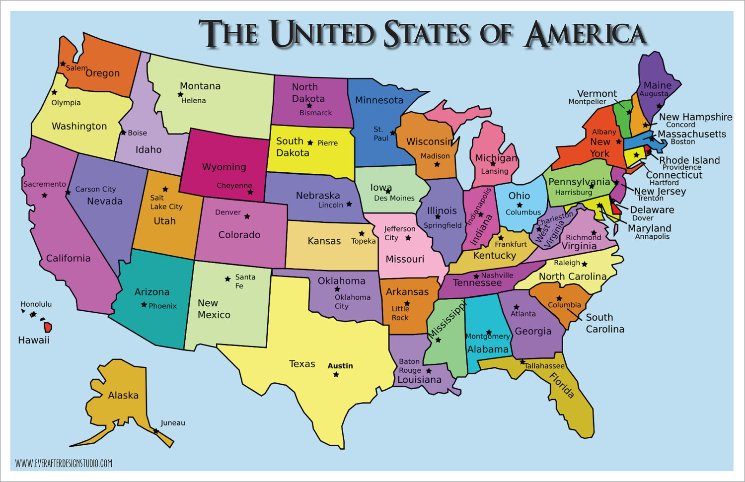 United States Map With Just Capitals Maps Of USA US Map Act Like