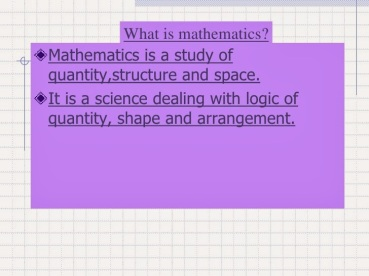 Mathematics Definition