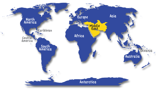 Middle East Map of World