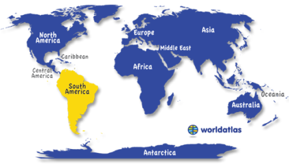 South America Map of World