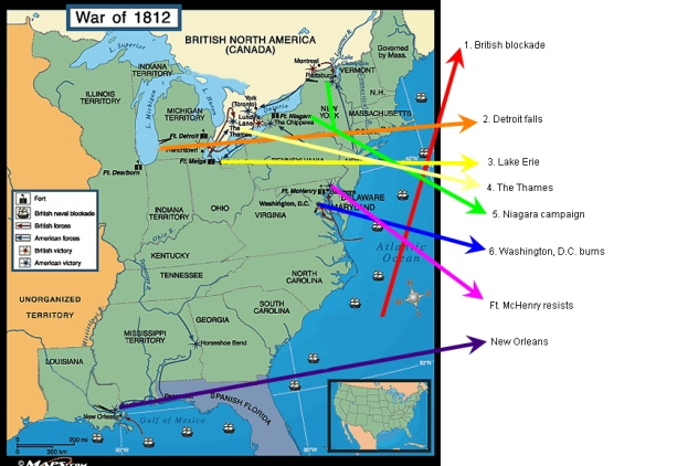 War of 1812 Map of Battles
