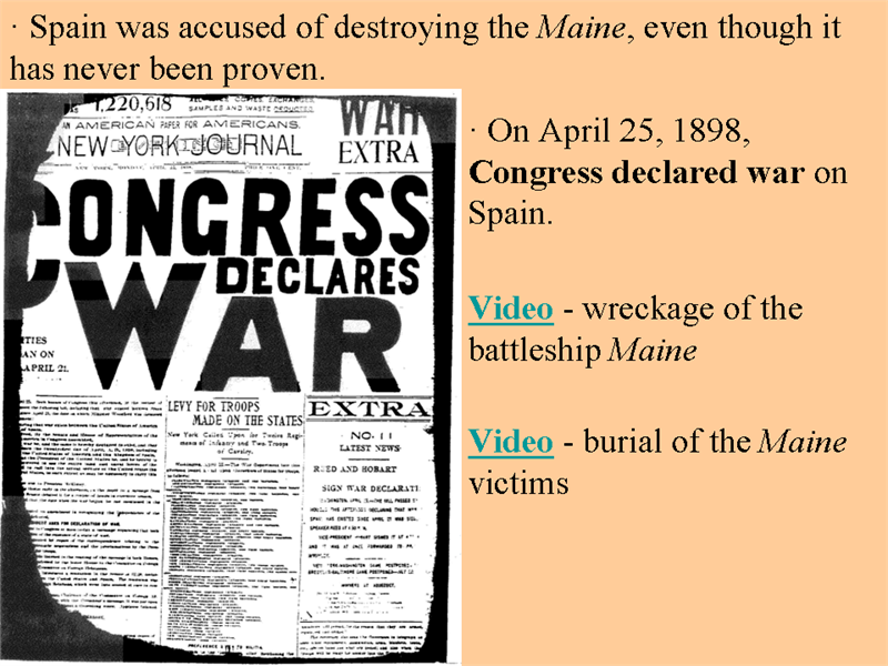 why did congress declare war on spain