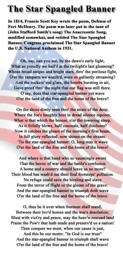 Superb image inside star spangled banner lyrics printable