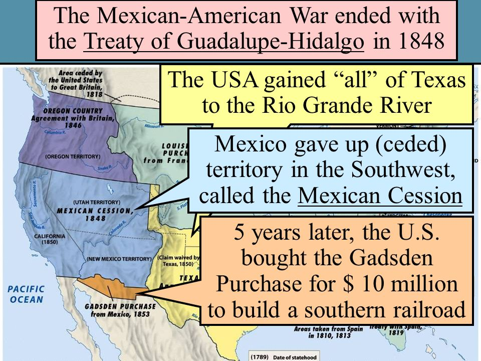 treaty guadalupe hidalgo treaty ended mexican american war The treaty of guadalupe hidalgo, signed on february 2, 1848, ended the mexican-american war in favor of the united states the war had begun almost two years earlier, in may 1846, over a territorial dispute involving texas the treaty added an additional 525,000 square miles to united.