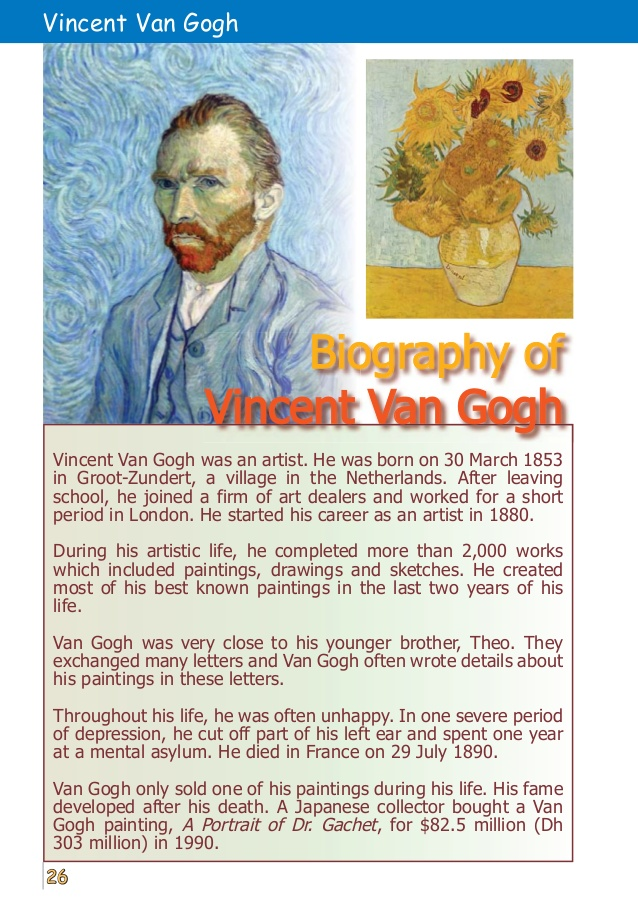 the early life and times of famous painter vincent van gogh Vincent van gogh is undeniably one of the most famous artists of all time the van gogh museum houses a striking on the life and times of van gogh.