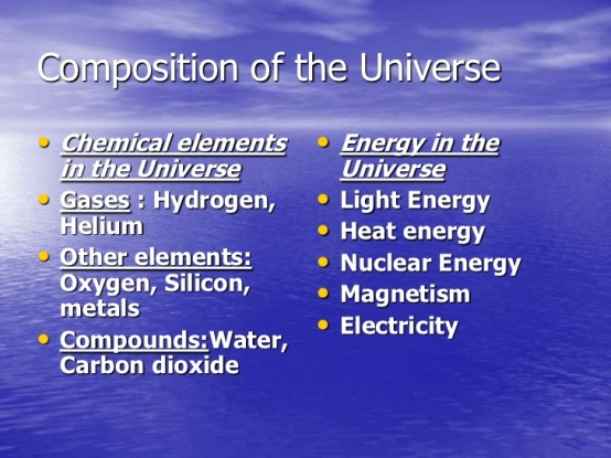 Composition of the Universe List