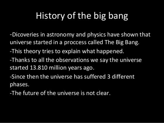 History of Big Bang