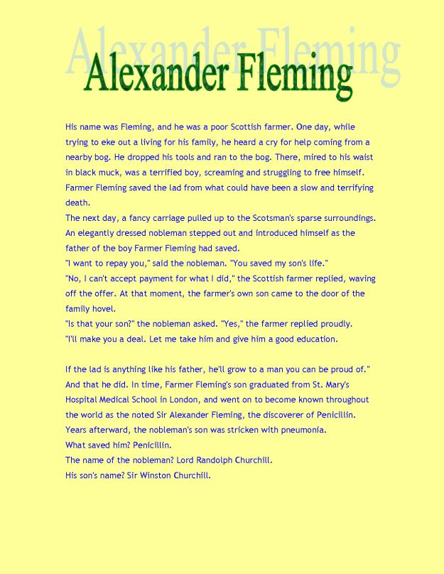 Sir Alexander Fleming Story