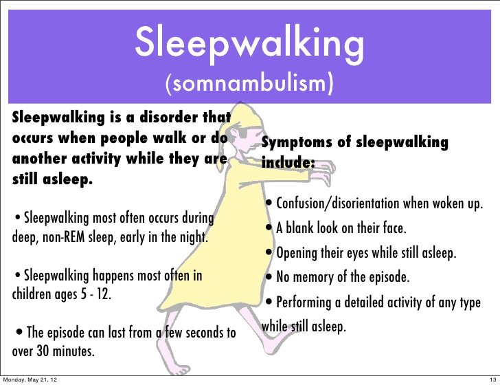 sleepwalking A person who is sleepwalking walks or makes other movements that seem purposeful this occurs while in a state of partial wakefulness from deep sleep contrary.