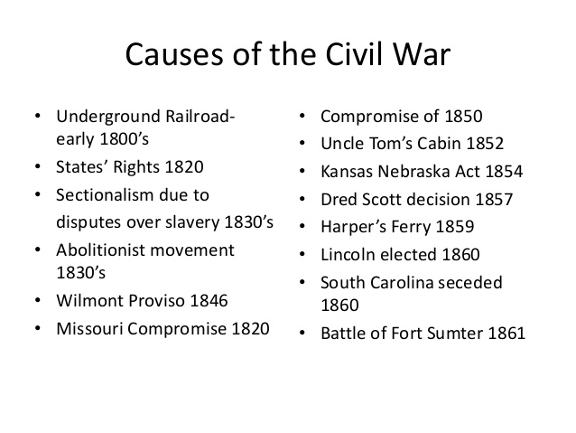 the causes of the american civil The election of abraham lincoln in 1860 caused seven southern states to secede and.