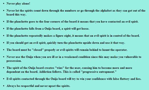 Ouija Board Game Rules