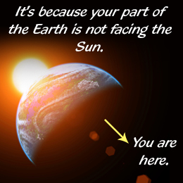 Earth is not facing the sun, it's why it is dark