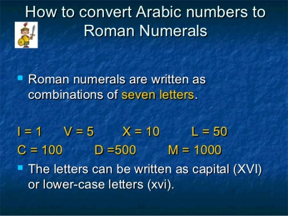 How to converter Arabic Numbers to Roman Numbers