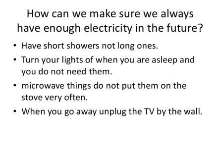Save Electricity for the Future