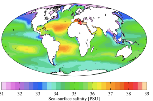 Sea-Surface Salinity (PSU)