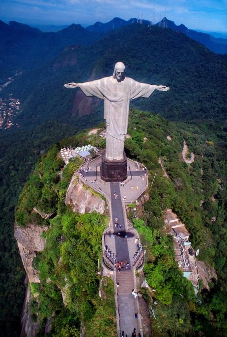Aerial view of the Statue of Christ the Redeemer (Cristo Redentor), Corcovado Mountain, Rio de Janeiro, Brazil