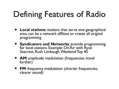 Defining Features of Radio