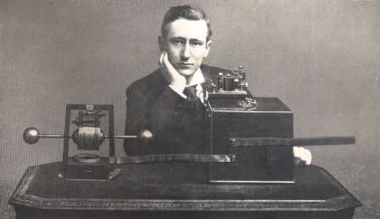 Guglielmo Marconi with First Radio