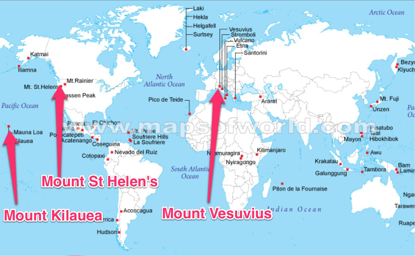 Volcanoes of the world map know it all map of volcanoes gumiabroncs Image collections