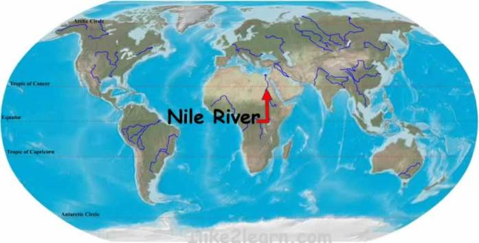 Nile River Map of World