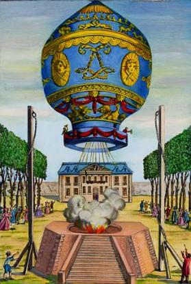 Original Caption: Paris: Illustration of man's first free ascent from Earth on November 21, 1783. Pilatre de Rozier and Marquis D'Arlandes wave from gallery of their Montgolfier as they set out from Paris.