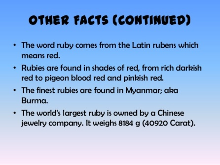 Rubies Facts