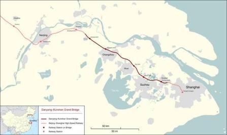 Danyang-Kunshan Grand Bridge Map