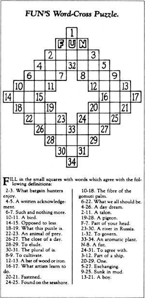 First Crossword - December 21, 1913