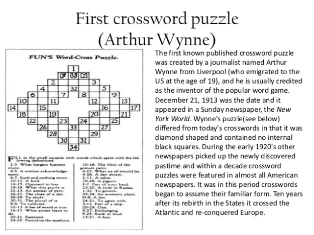 First Crossword Puzzle - Arthur Wynne