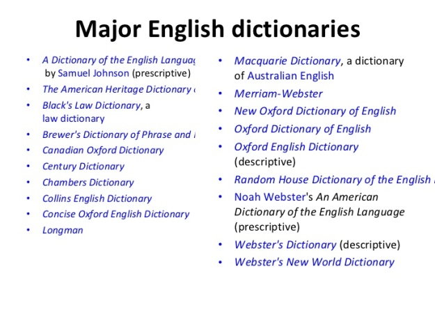 Major English Dictionaries