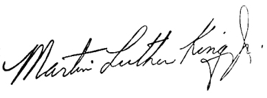 Martin Luther King Jr Signature