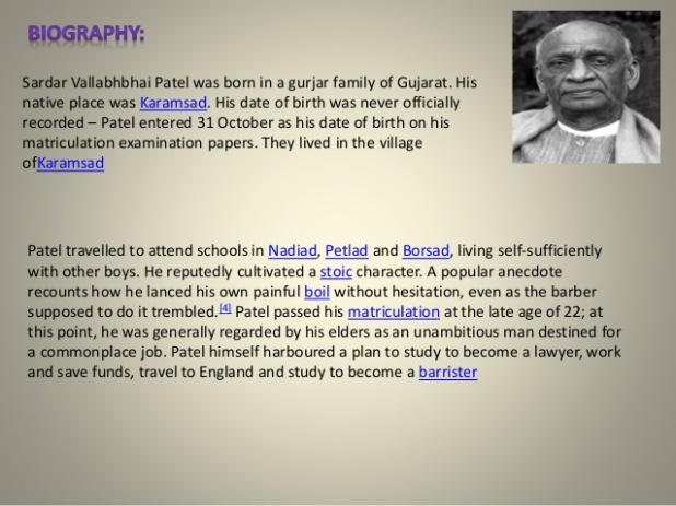 Sardar vallabhai patel biography in english