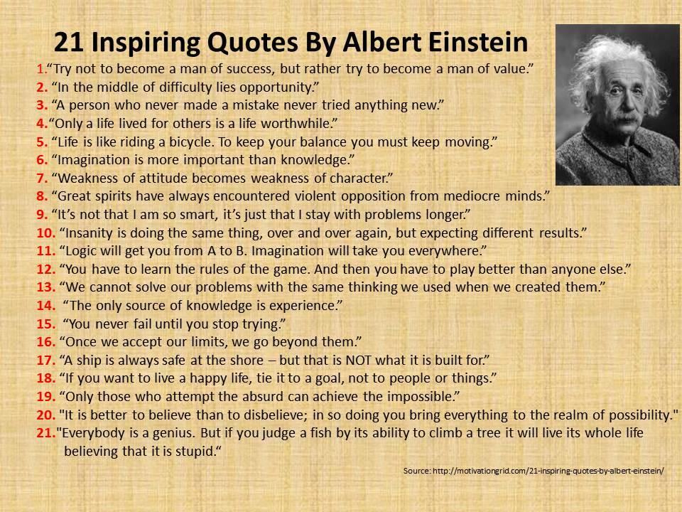 Afbeeldingsresultaat voor 21 inspiring quotes by albert einstein