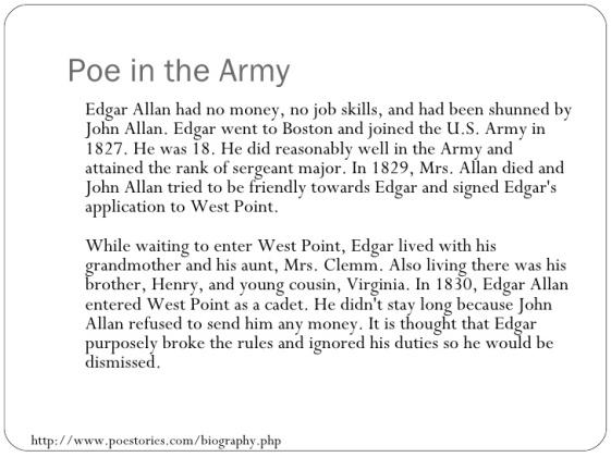 Edgar Allan Poe - Army