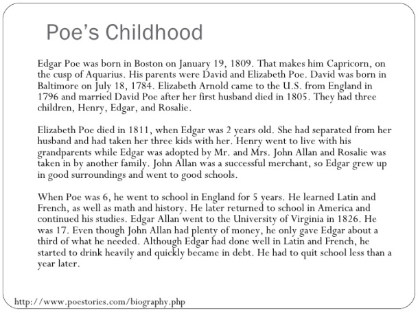 Edgar Allan Poe - Childhood