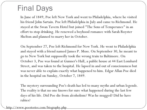Edgar Allan Poe - Final Days