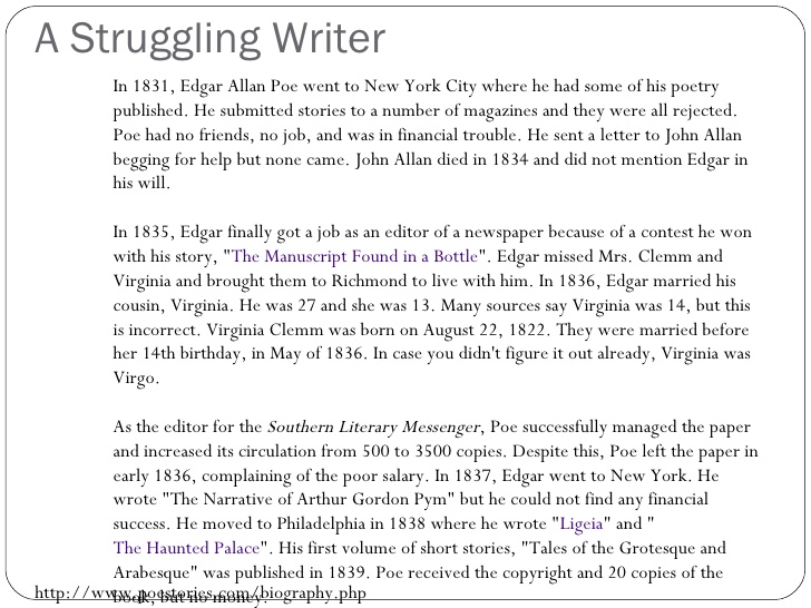 Edgar Allan Poe - Struggling Writer 1
