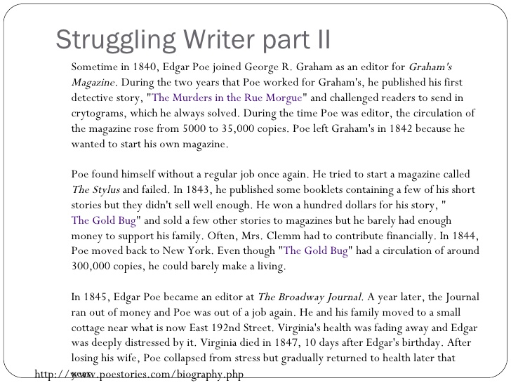 Edgar Allan Poe - Struggling Writer 2