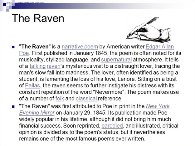 The raven poem analysis essay | Term paper Example - August