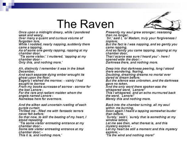 edgar allan poe the raven essay Edgar allan poe's the raven, representing poe's own crisis, is oddly moving and eye-catching to the reader in his essay entitled the philosophy of composition.