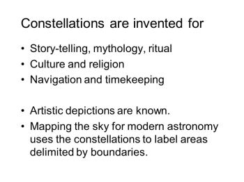 Constellations are invented for
