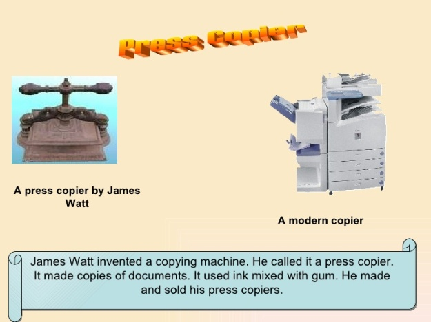James Watt and the Press Copier