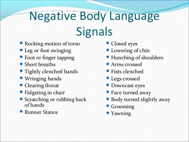 Negative body language gestures