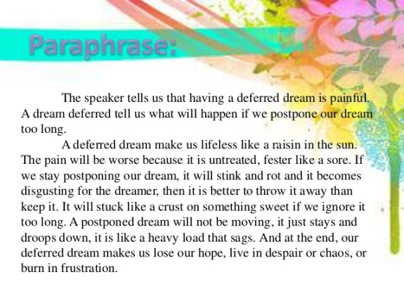 Dream Deferred - Paraphrase