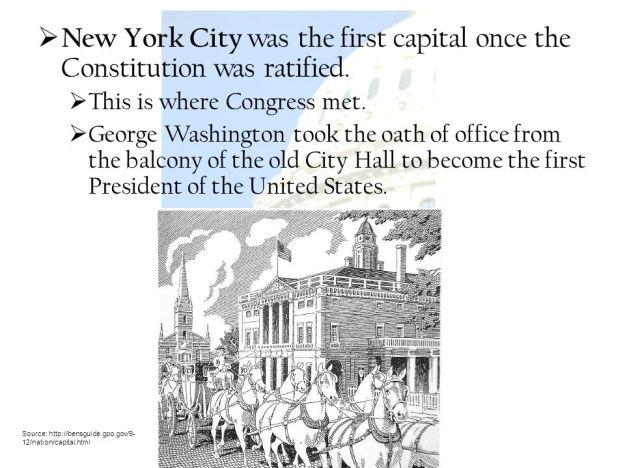 New York Capital of United States - Washington take oath
