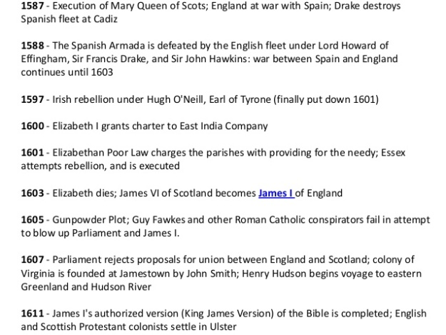 4 - British Timeline from 1587 to 1611